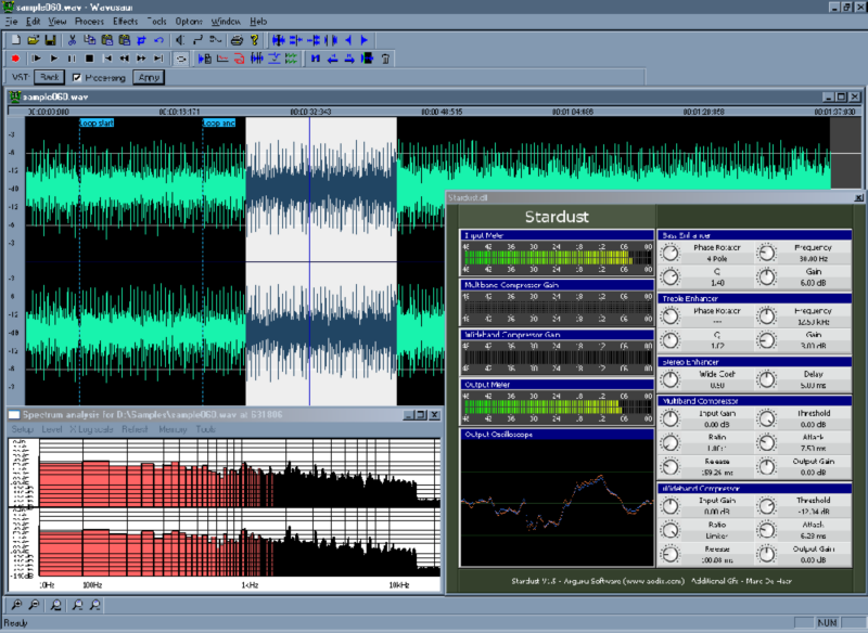 Wavosaur free audio editing software with VST