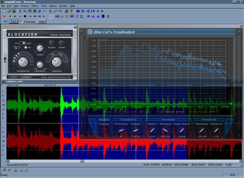Wavosaur is audio editing software, allowing you to edit, play and record digital audio as well as applying effect in real-time. It has standard audio editing features, audio spectrum analysis and support for VST plugins & ASIO drivers.